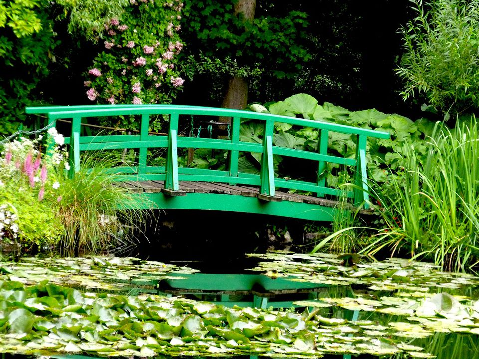 A footbridge at Monet's water garden at Giverny.