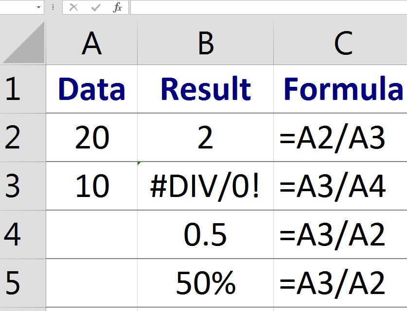 how to divide in excel using a formula
