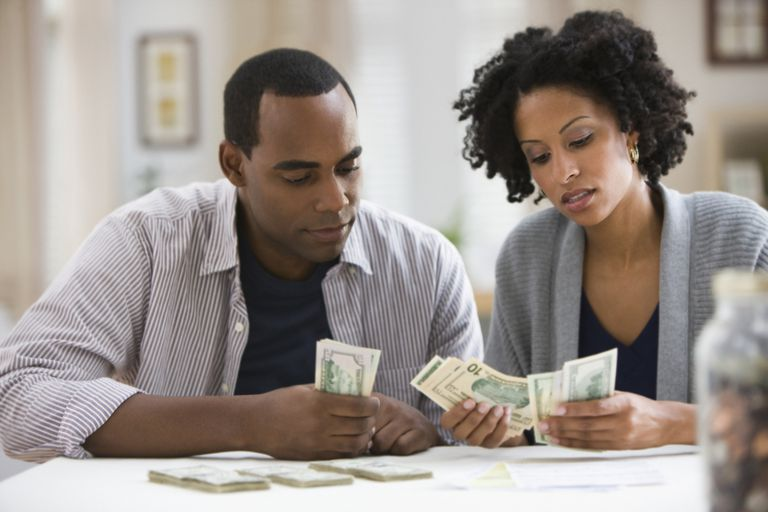 Couple counting cash