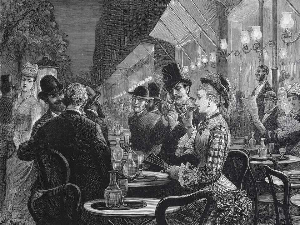Cafe on Grand Boulevard, Paris, 1877, engraving, France, 19th century.