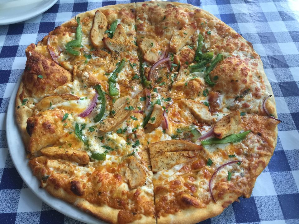 Barbecue Chicken Pizza With Peppers and Onions