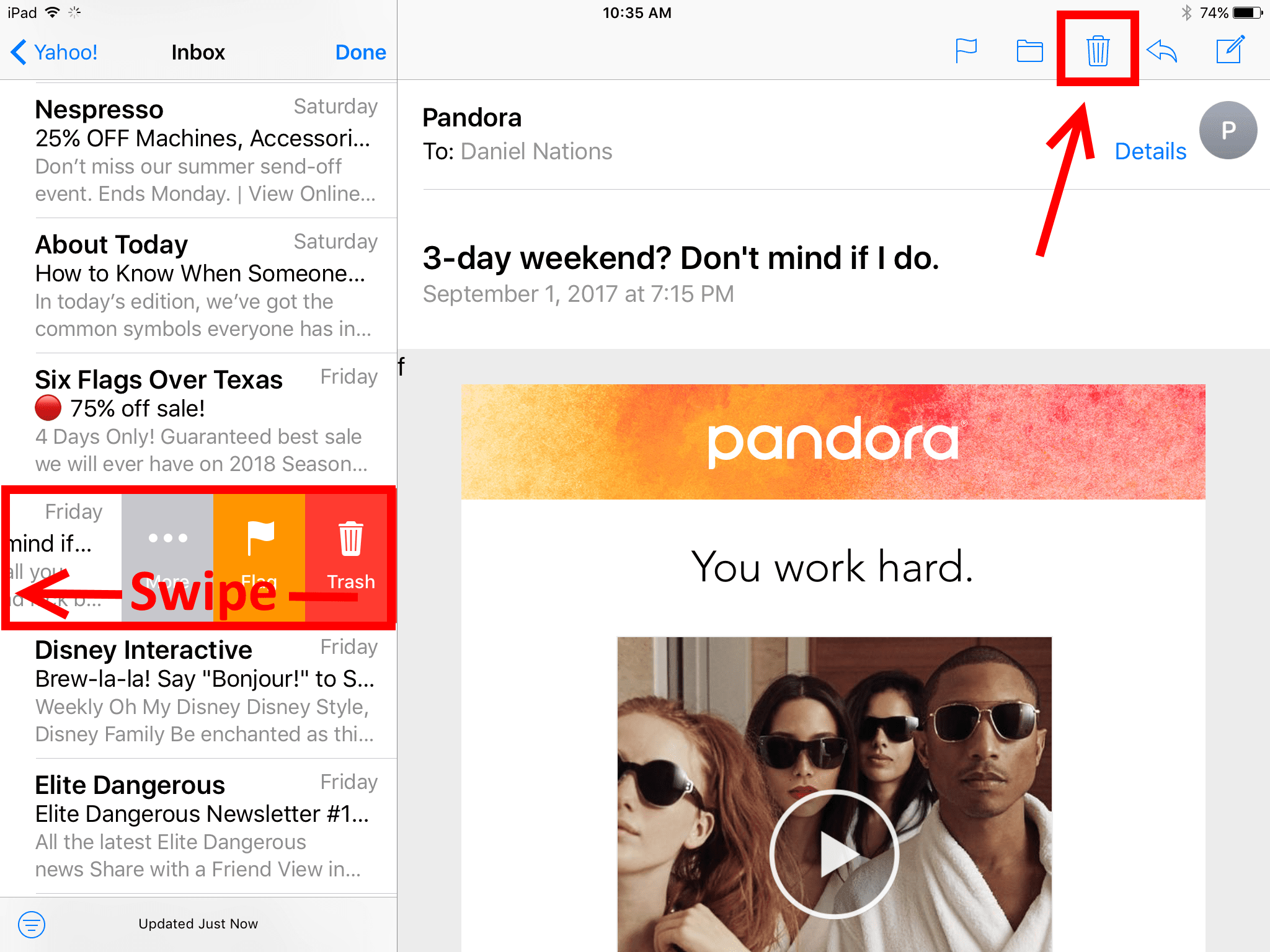 How to delete email on the ipad buycottarizona