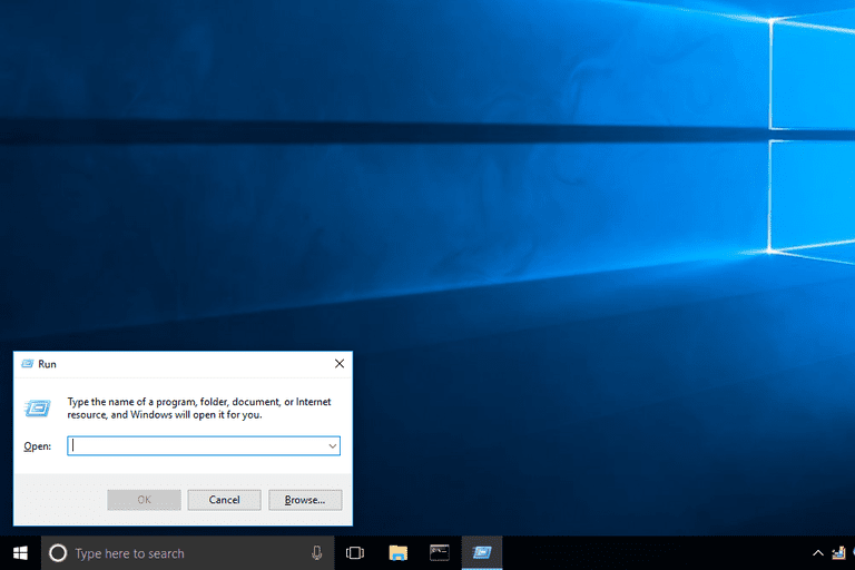 Screenshot of the Windows 10 Run dialog box