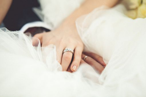 Married couple with wedding rings