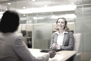 Young woman in job interview