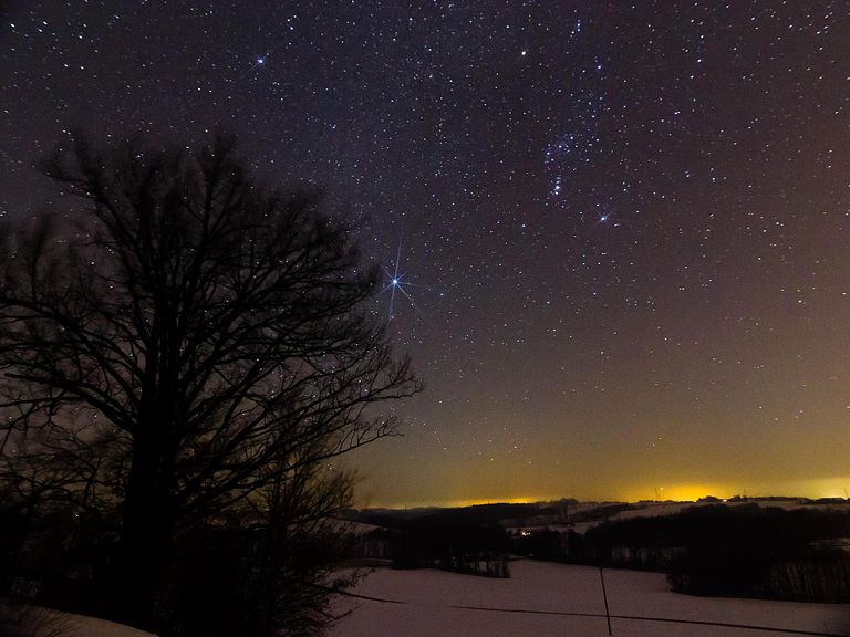 Sirius, the brightest star in the sky, accompanied by the prominent constellation Orion, the heavenly hunter, is sparkling over a snow-covered winter landscape.