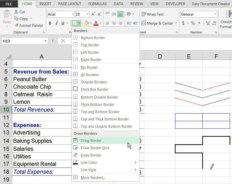 Drawing Lines Between Text Boxes : Shortcut keys to add borders in excel
