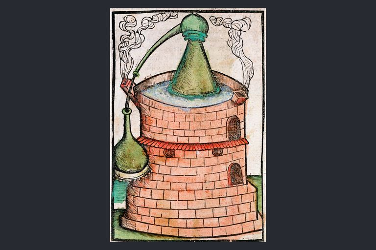 Distillation, 1500. A still in a water bath (bain-marie), showing an alembic