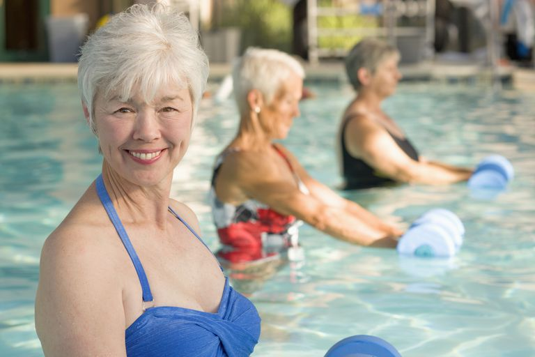 Women exercise in a pool.