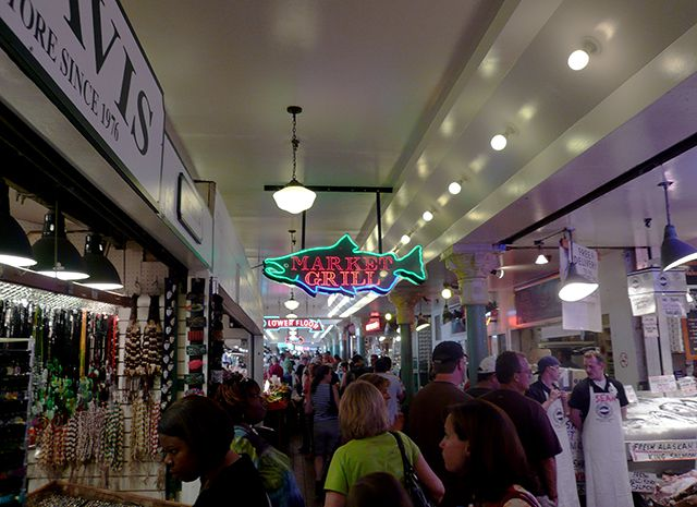 Shoppers at Seattle's Pike Place Market © Angela M. Brown (2008)