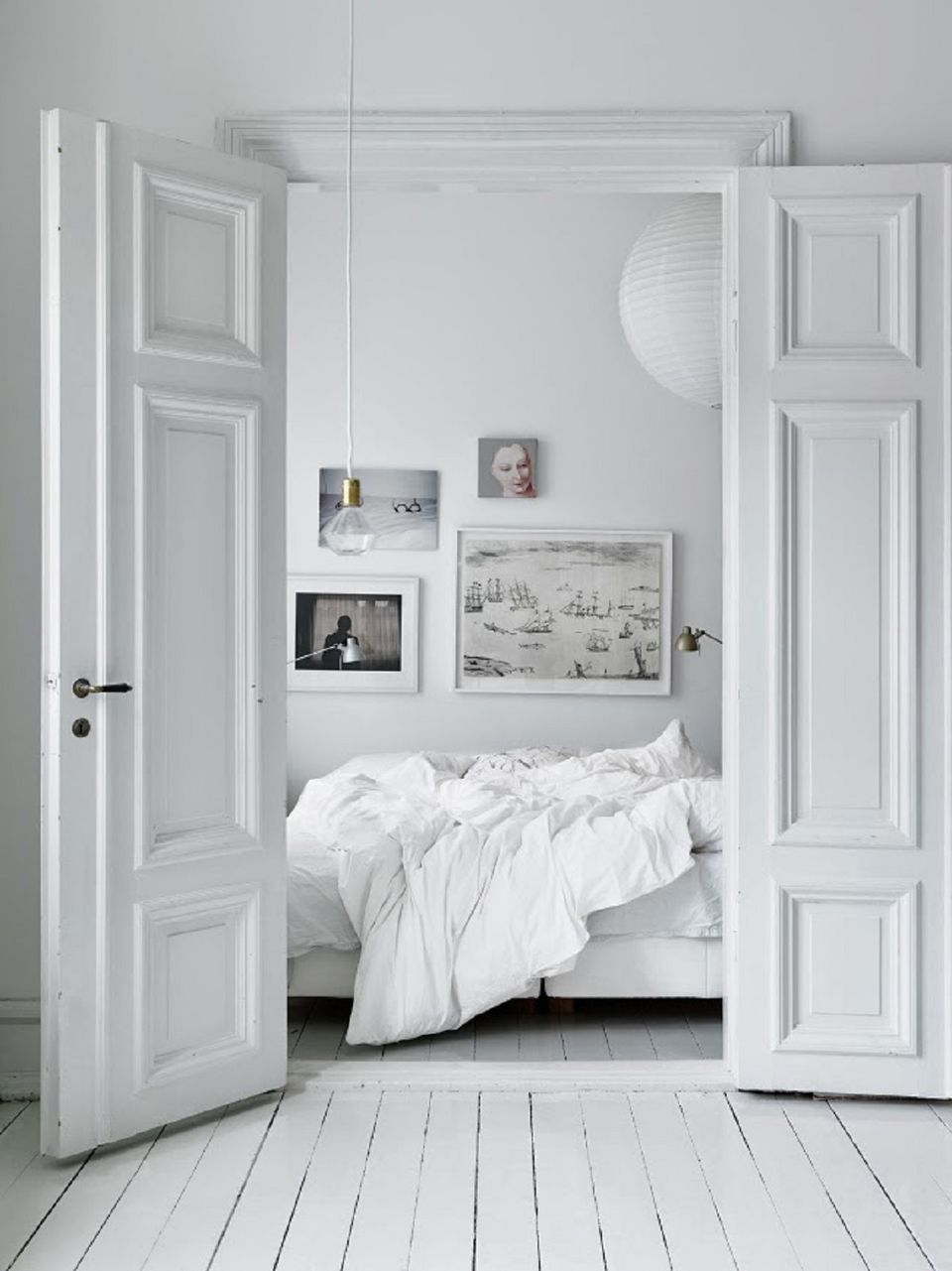 White Wooden Bedroom Floors. Small Scandinavian bedroom