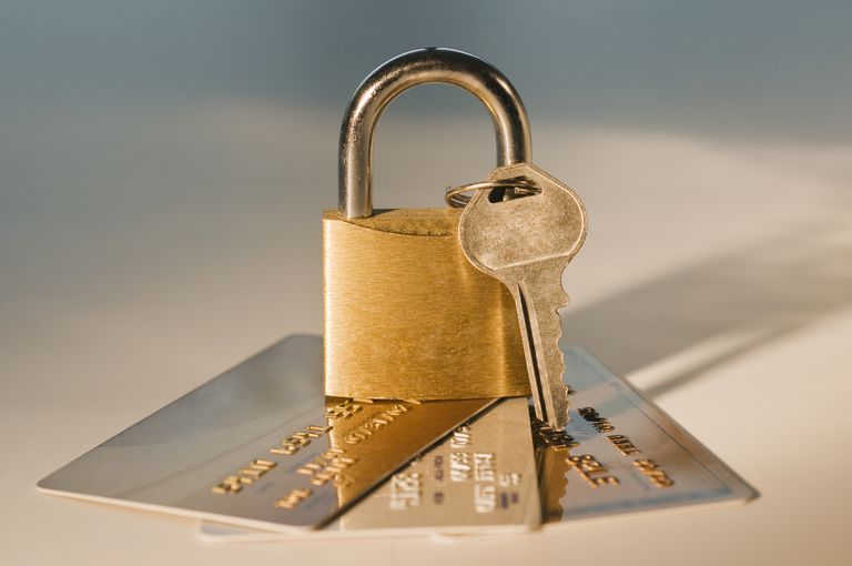 Lock and key on credit cards