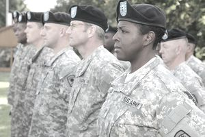Members of the 457th Civil Affairs Battalion stand in formation at the 361st Civil Affairs Brigade's activation ceremony Sept. 17 on Daenner Kaserne, Kaiserslautern, Germany.