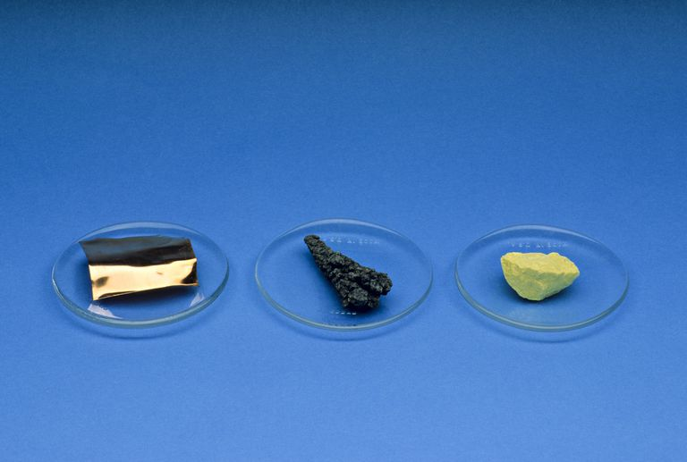 Metal: copper (left); metalloid: arsenic (center); and non-metal: sulfur (right).