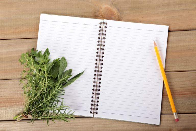 Blank notebook with herbs