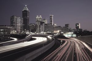 USA, Georgia, Atlanta, traffic on I-85 at night (long exposure)