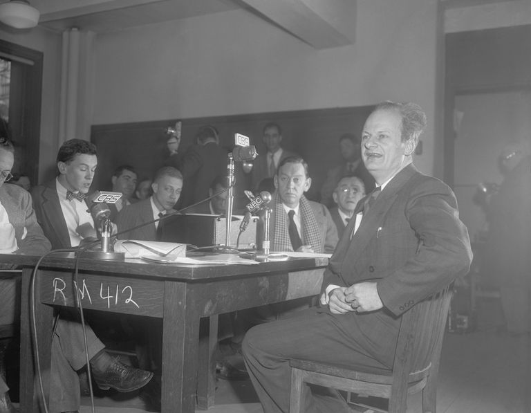 Hans Bethe at a press conference