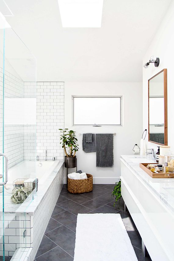 Bright And Minimal White and Gray Bathroom