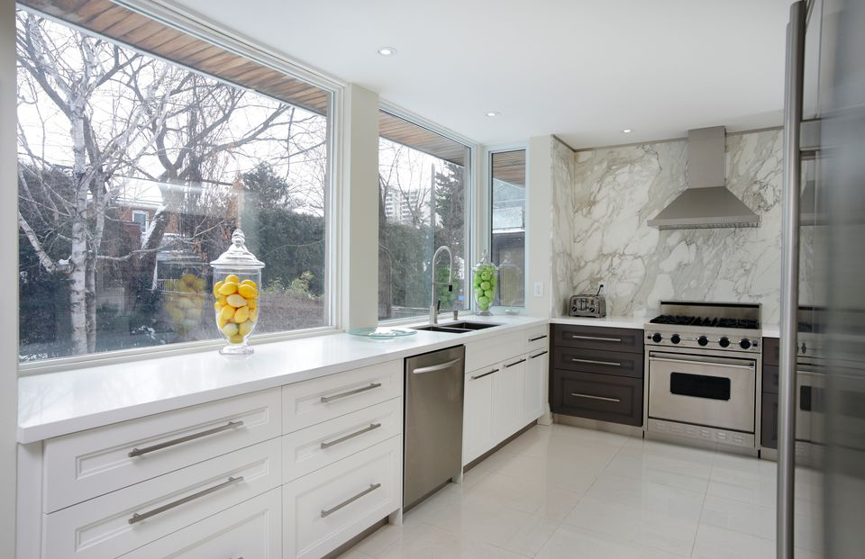 Luxury Kitchen with Large Marble Sheet Backsplash