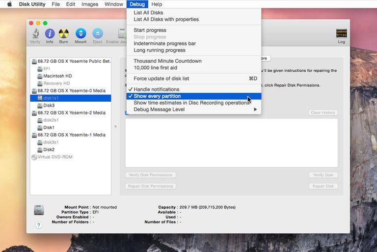 Disk Utility with Debug menu shown