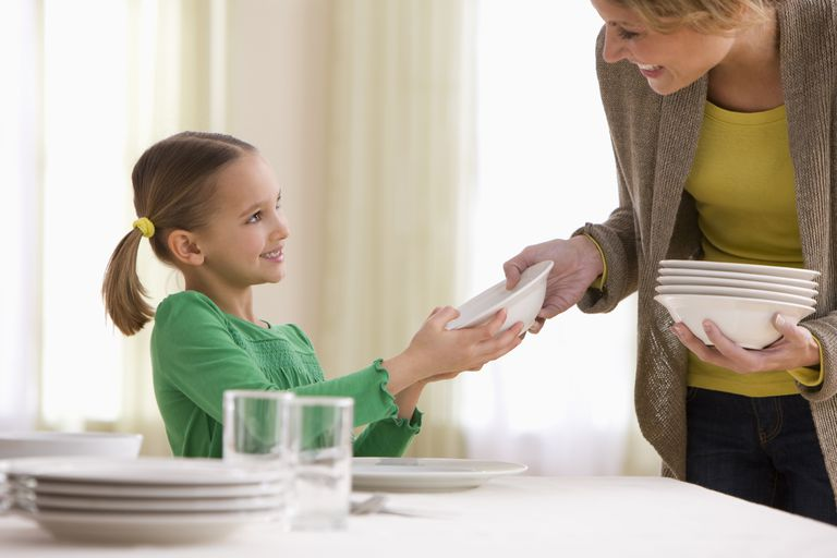 chores for kids - girl setting the table