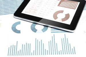 finance chart with digital tablet