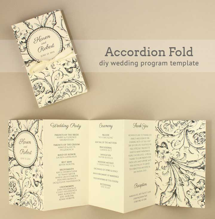 27 free wedding program templates youll love accordion folded wedding program template from boho weddings pronofoot35fo Images