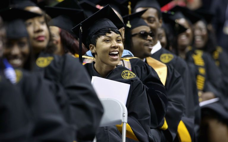 Woman smiling during graduating