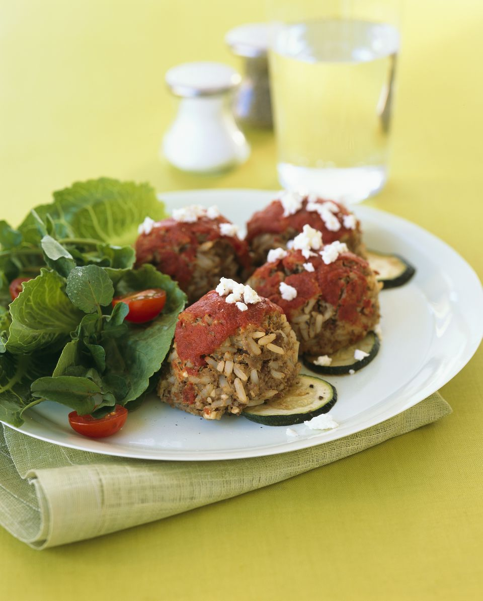 beef and rice meatballs with tomato sauce