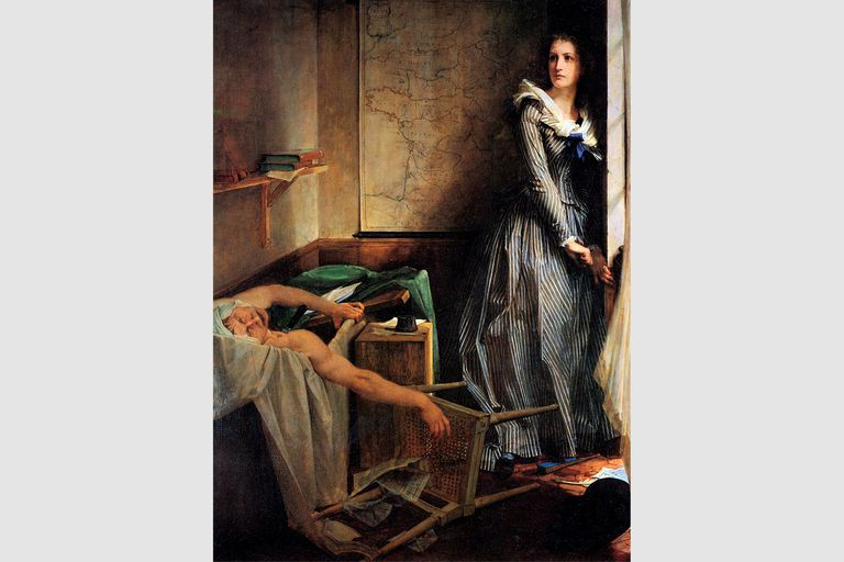 """""""Charlotte Corday after the murder of Marat,"""" 1861, by Paul-Jacques-Aime Baudry"""