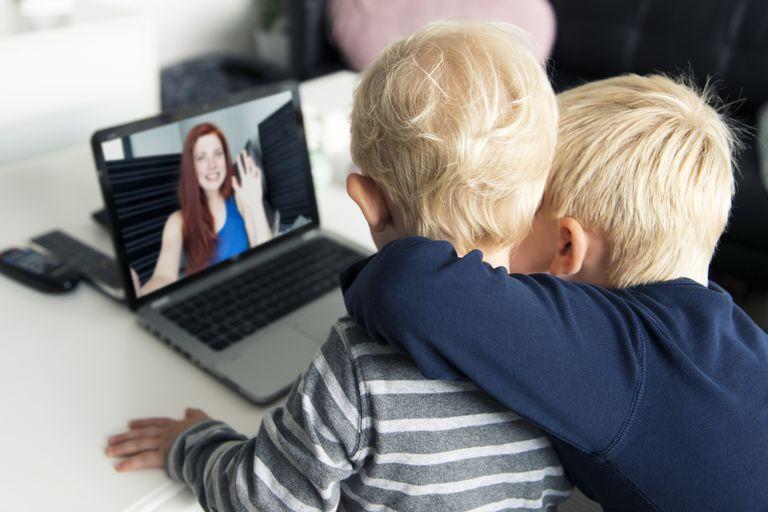 children using Skype