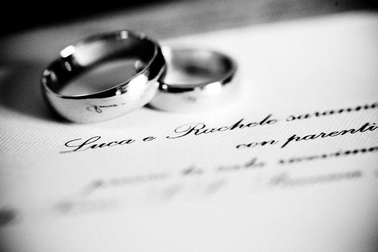 Wedding rings on wedding card
