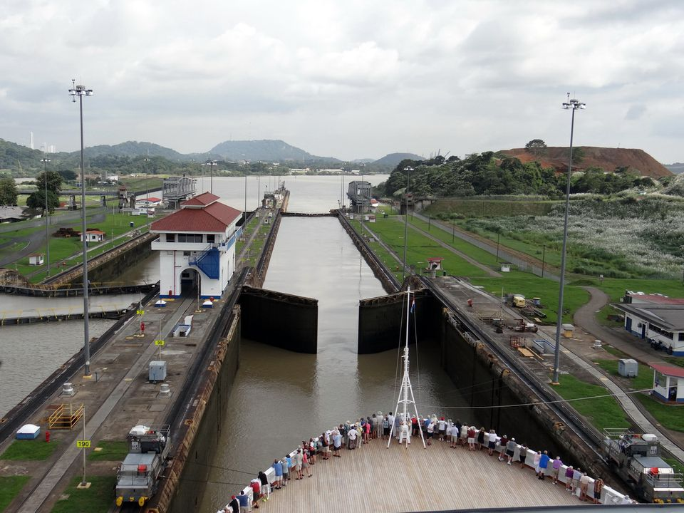 Holland America Line Veendam cruise ship in Panama Canal