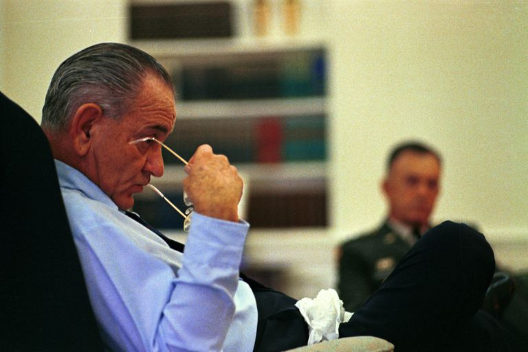 LBJ in a meeting.