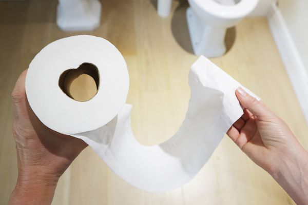 Hands holding toilet roll