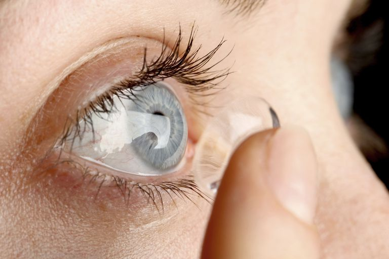 close up of eye and contact lens