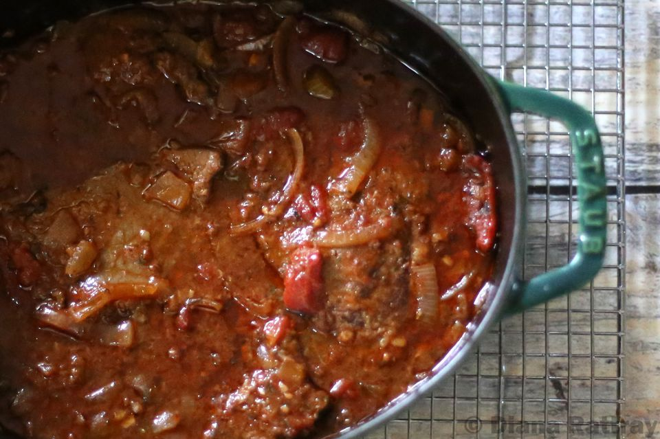 Simmered pepper steak with Asian flavors.