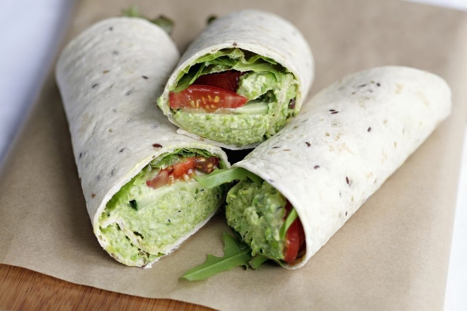 Avocado, tomato and cucumber sandwich wraps - vegetarian and vegan and a simple lunch idea