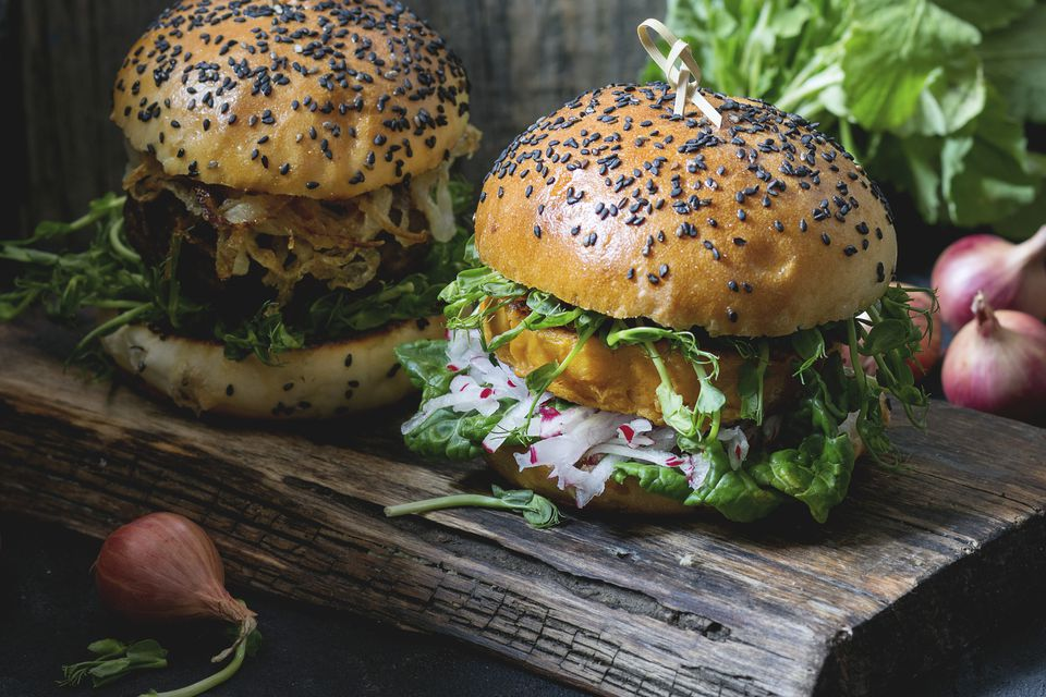 Vegetarian sweet potato burgers