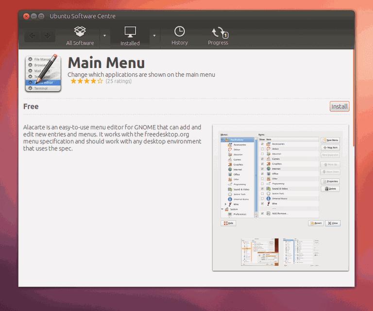 ubuntu alacarte menu