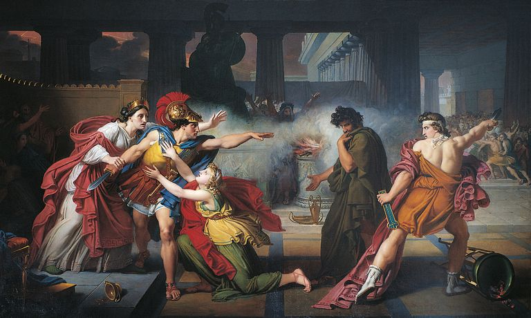 The Duel between Eteocles and Polynices, by Giovanni Silvagni, 1820, 19th Century, oil on canvas