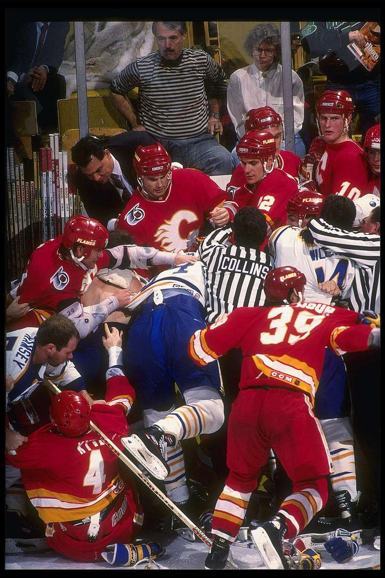 Hockey Fight Between Calgary and Buffalo, 1991