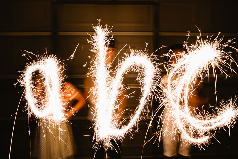 Writing the alphabet with sparklers