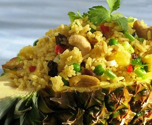 Pineapple Fried Rice in a pineapple!
