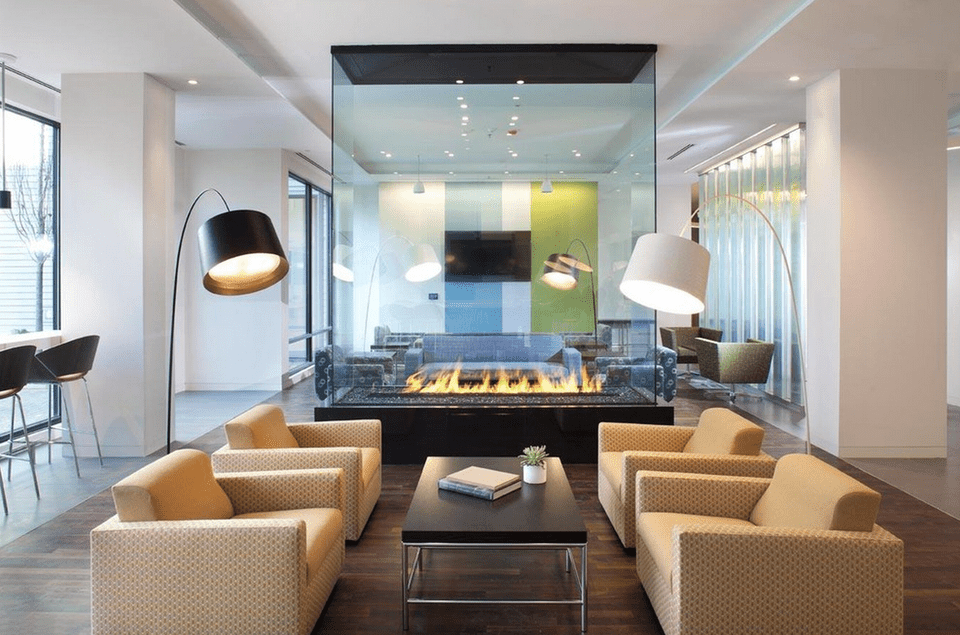 Glass Living Room Fireplace Modern
