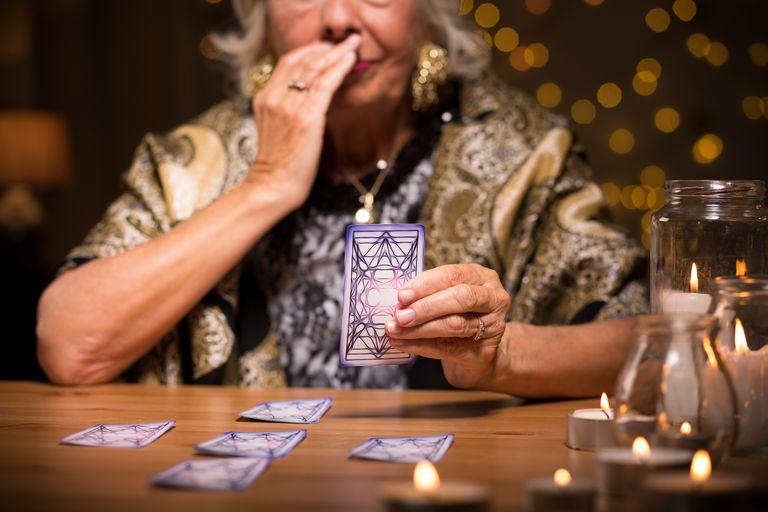 Woman reading tarot card