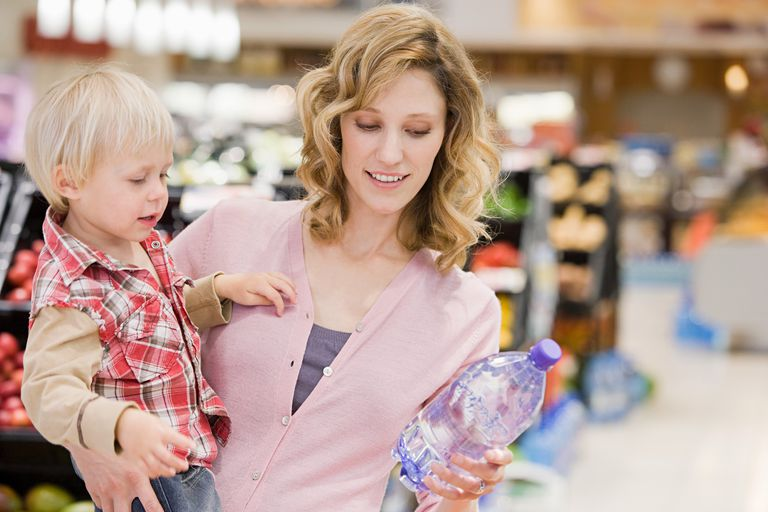 Woman and child in supermarket