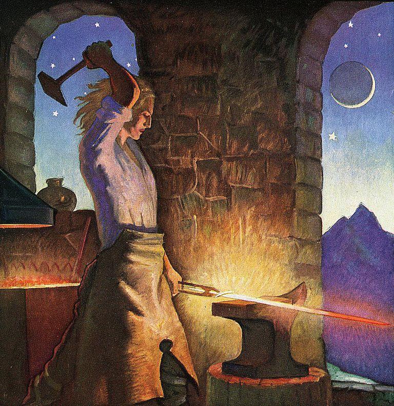Siegfried Forging His Sword