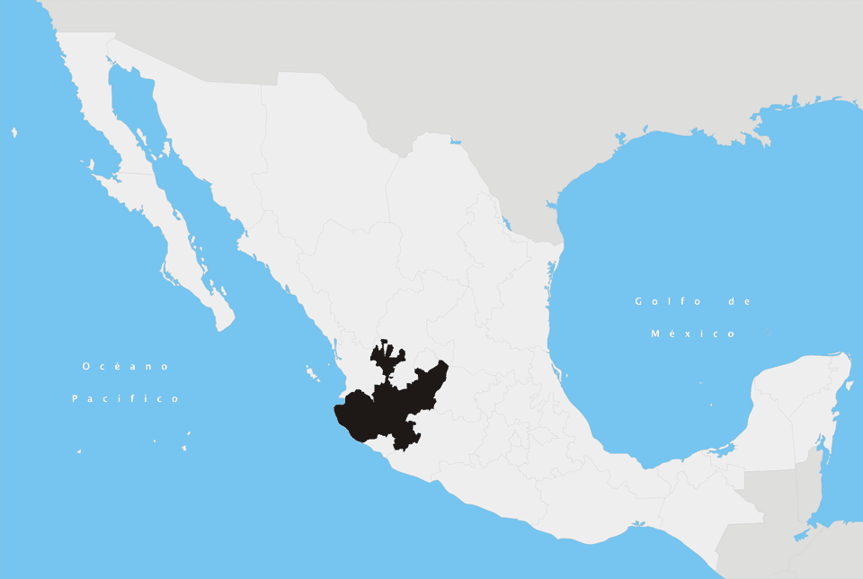 Map of Mexico with Jalisco state highlighted