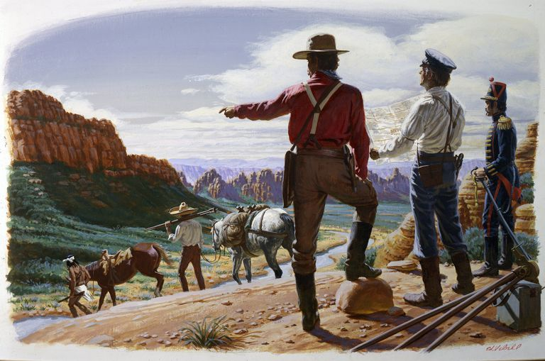 Painting of surveyors mapping the Gadsden Purchase.